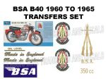 BSA B40 1960 to 1965 Transfer Decal Set